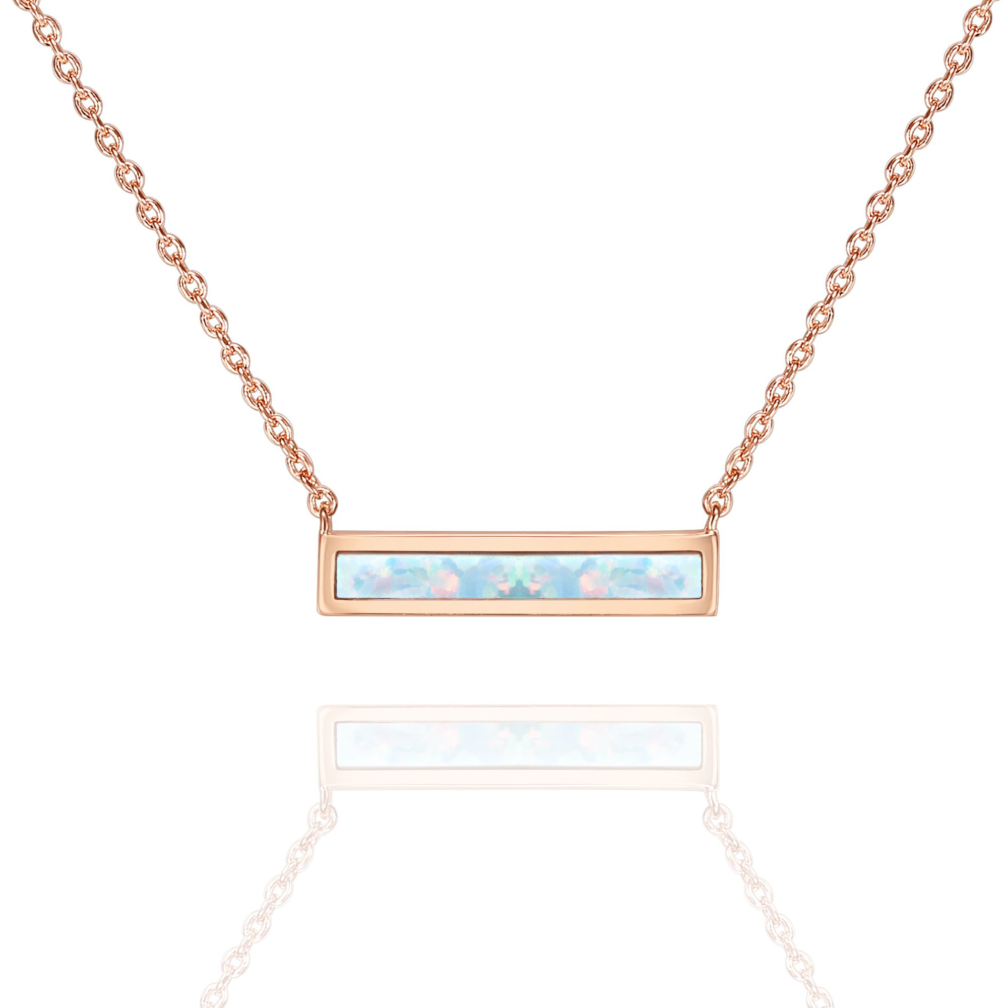 PAVOI 14K Rose Gold Plated Thin Bar White Opal Necklace 16-18