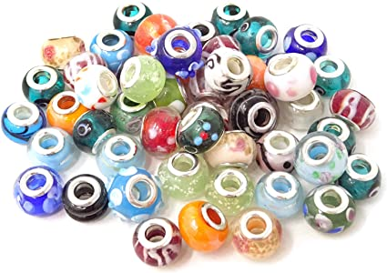 Amazon Com Honbay 50pcs Random Patterns Glass Beads European Charm Beads Large Hole Beads Spacer Beads