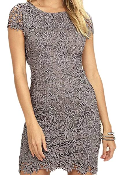 d33da7984af Alion Women s Sleeveless Lace Floral Elegant Cocktail Dress Crew Neck Knee  Length for Party at Amazon Women s Clothing store