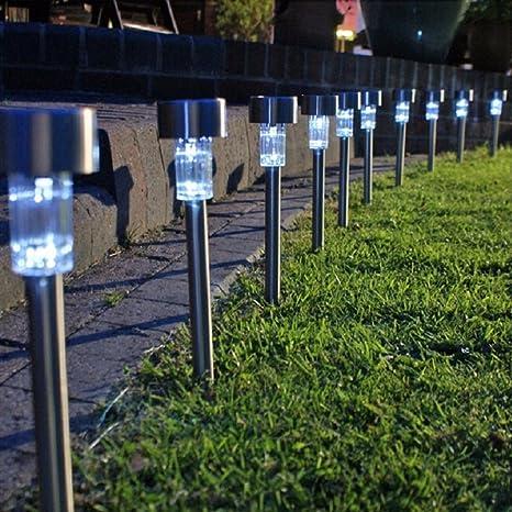 HHORD 10 PCS-Garden of Bright White LED Luces Solares Iluminación De Jardín Ornamentos De Jardín LED Luces Solares Luces De Camino Al Aire Libre O Luces De Paisajismo,1: Amazon.es: Deportes y aire