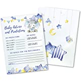 50 Deluxe Blue Elephant Advice and Prediction Cards- Large Double Sided 5 x 7 Inch for Baby Boy Shower Game, New Parent…
