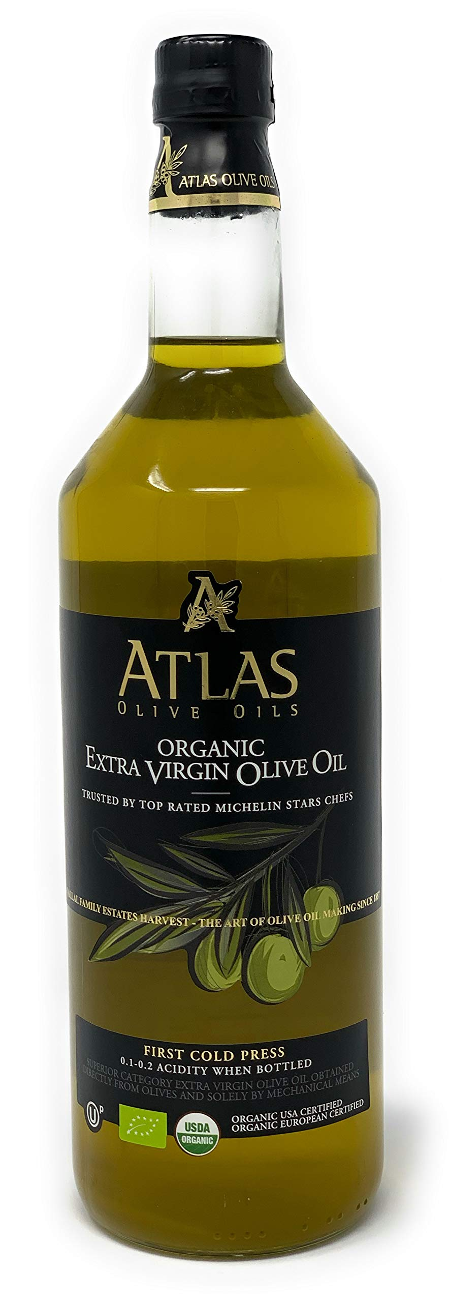 Organic Extra Virgin Olive Oil: First Cold Pressed EVOO Trusted by Top Michelin Stars Chefs for cooking, Organic USA Certified, Organic European Certified, 0.1-0.2 Acidity from Olives in Morocco