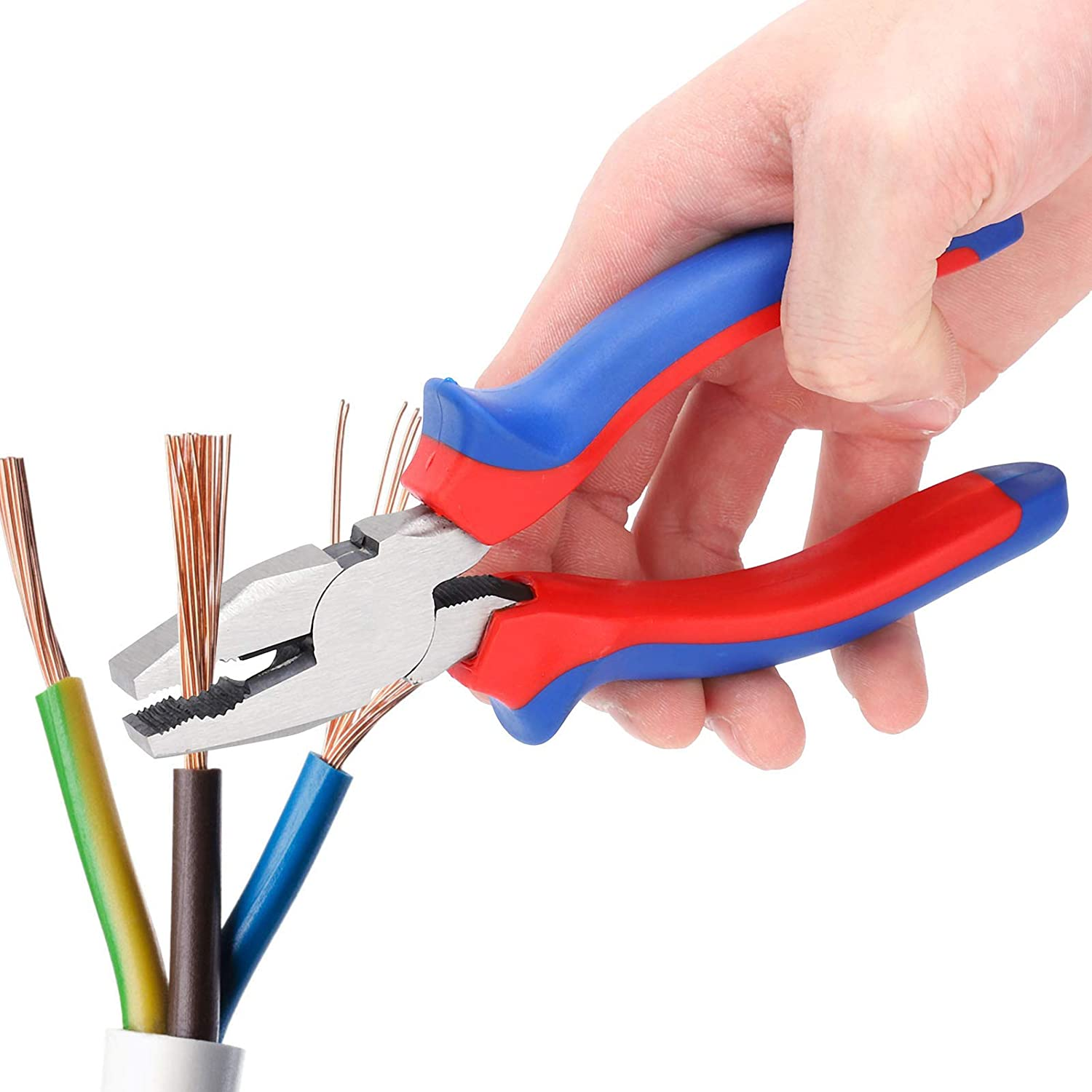 Wire Cutter Insulated Rubber Handle Conform to Ergonomic Design Two‑color Plastic Handle 45 Steel Cutting Pliers for Industrial