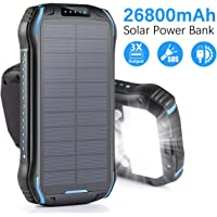 Aonidi 26800mAh Solar Portable Power Bank with 3 USB Charging Ports, High Capacity Backup Battery Compatible Smartphone,Tablet and More