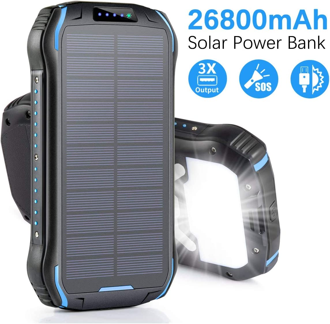 Aonidi Solar Charger 26800mAh Power Bank Portable Charger Battery Pack with 3 Outputs & 2 Inputs(Micro USB & Type-C) High Capacity Backup Battery Compatible Smartphone,Tablet and More 71v06yjTAKL