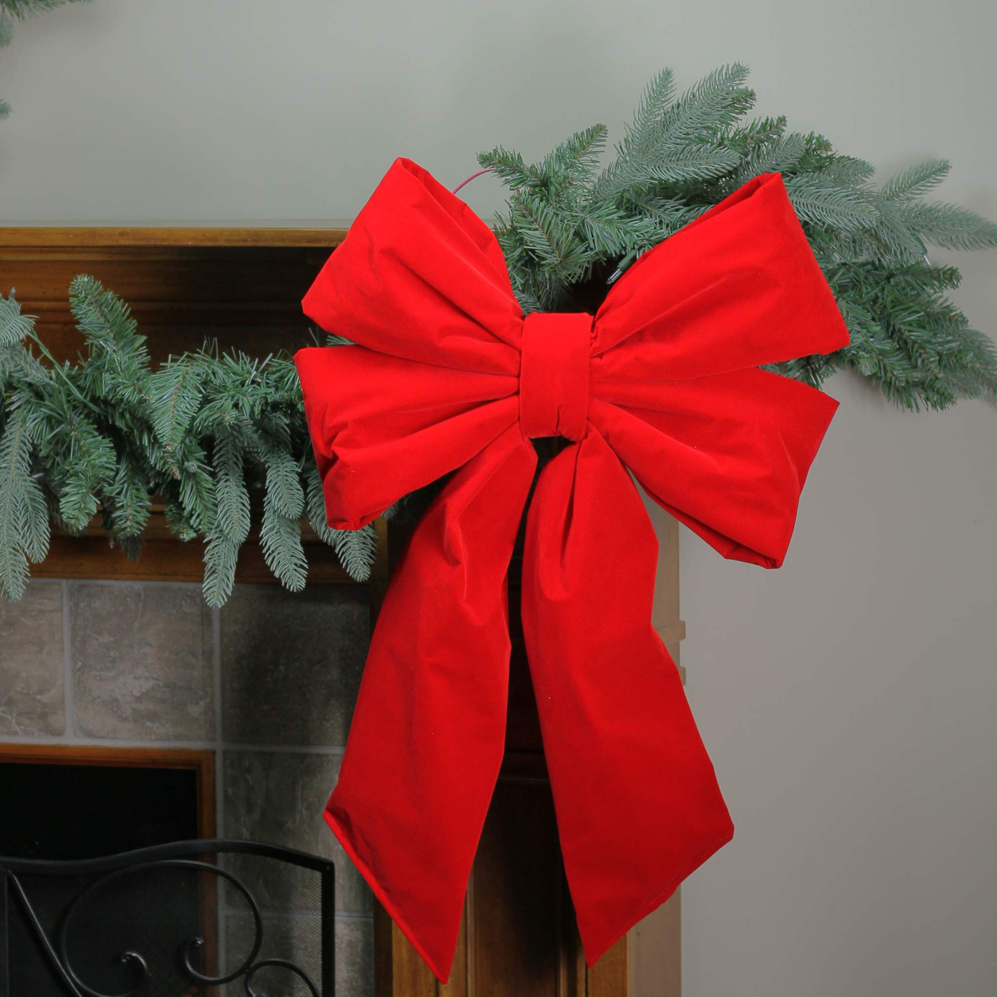 Northlight 18'' x 26'' Commercial Structural 4-Loop Red Outdoor Christmas Bow Decoration