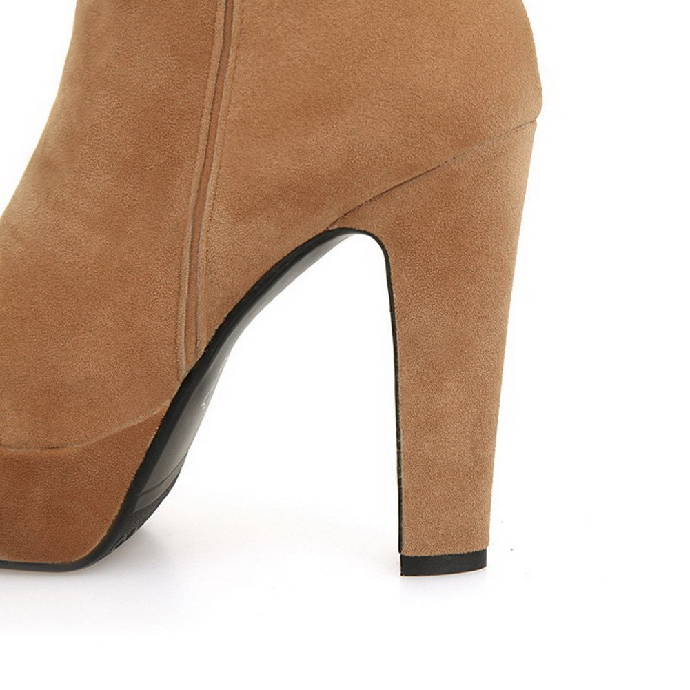 WeiPoot Womens Round Closed Toe High Heels Imitated Suede Solid Boots with Back Zipper