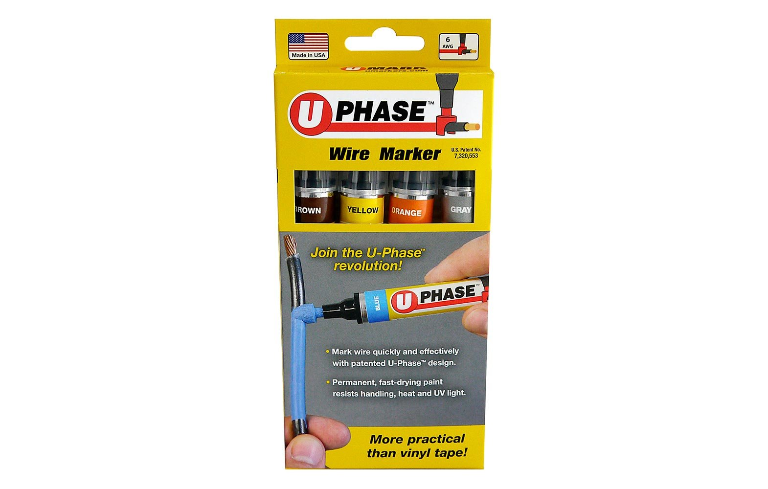 U-Mark 10718P3A Brown/Yellow/Orange/Gray U-Phase Marker for Marking Up to #6 AWG Electric Wire, 3-Phase, 13 mL (Pack of 4)