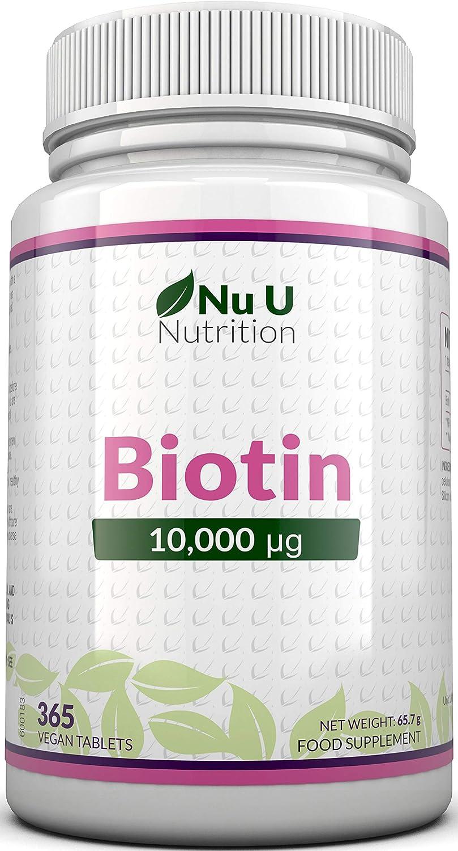 Biotina 10.000 MCG | 365 Comprimidos (Suministro Anual) | Complemento alimenticio para la Caída del Cabello | Complemento alimenticio Nu U Nutrition