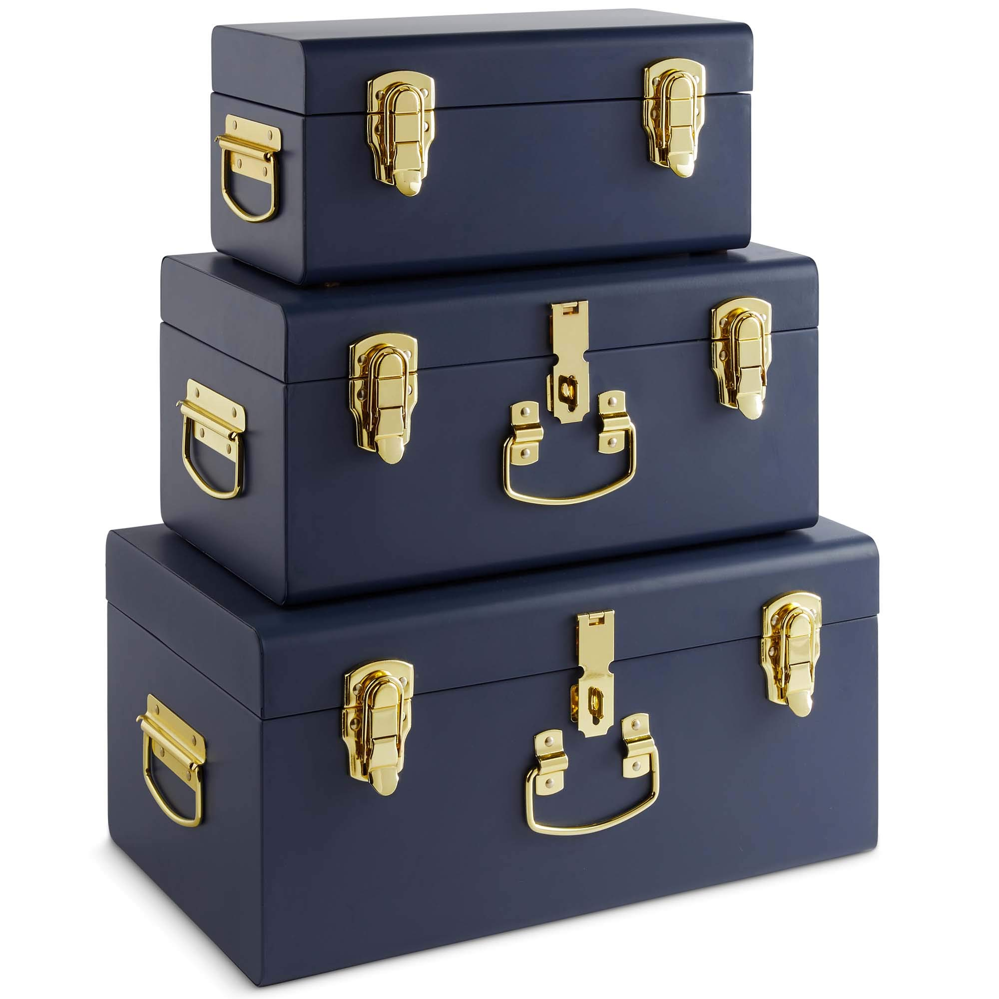 Beautify Set of 3 Navy Blue Vintage Metal Steel Storage Trunk Set Lockable and Decorative with Brass Handles - Bedroom Footlocker, College Dorm or Living Room Trunks by Beautify