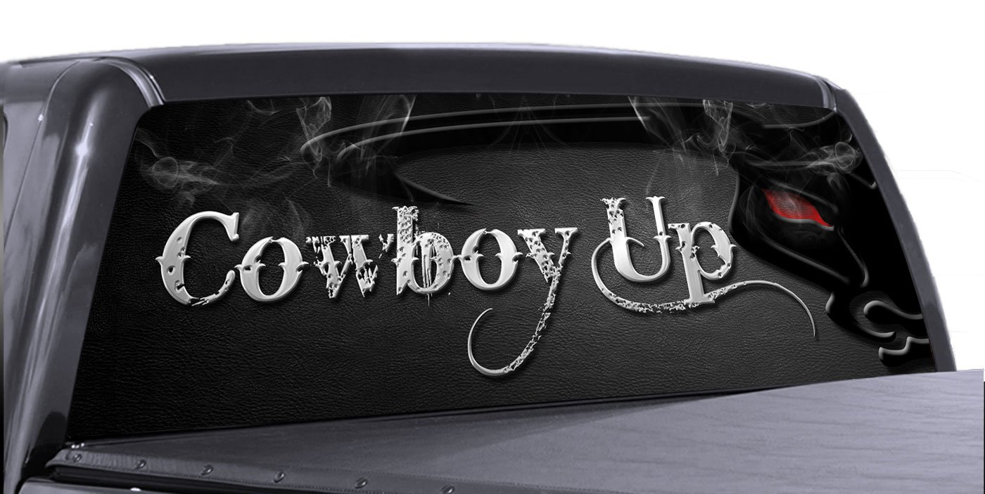 Amazon com vuscapes cowboy up 1 rear window truck graphic decal suv view thru vinyl automotive
