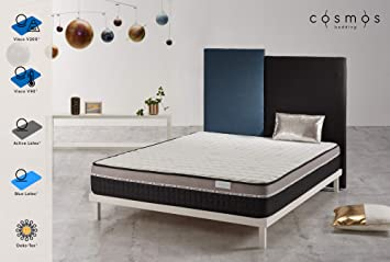 Cosmos Matelas Galaxy Mémoire De Forme Visco V200 Et Visco V90 Mousse Support Blue Latex Et Active Latex Effet Mémoire 24 Cm Confort Souple