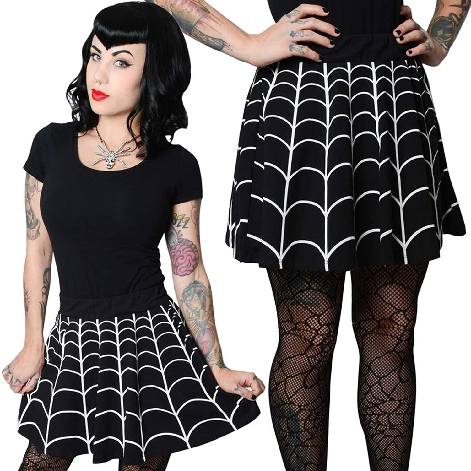 Vintage Retro Halloween Themed Clothing Web White Skater Skirt  AT vintagedancer.com