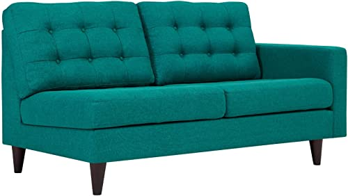 Modway Empress Mid-Century Modern Upholstered Fabric Right-Facing Loveseat In Teal