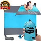 Chanvi Large Beach Blanket Handy Sand Mat- Extra Size 9' x 10' Holds 7 Adults with Strap - Perfect for Picnics, Beaches…