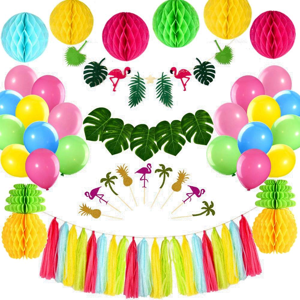 FEPITO Tropical Pink Flamingo Luau Hawaiian Party Kit ...
