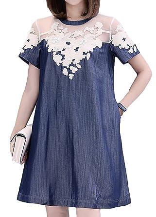 45c8d215ca83 Scothen Femmes Jeans Jupe Dentelle Chemise Robe Tunique Jeans Blouse  Printemps Denim Jeans Parti Mini Robe