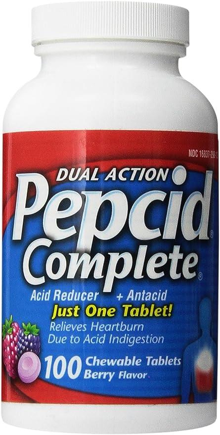 Chewable Berry Flavor Antacid Dual Action Pepcid Complete 100 Ct