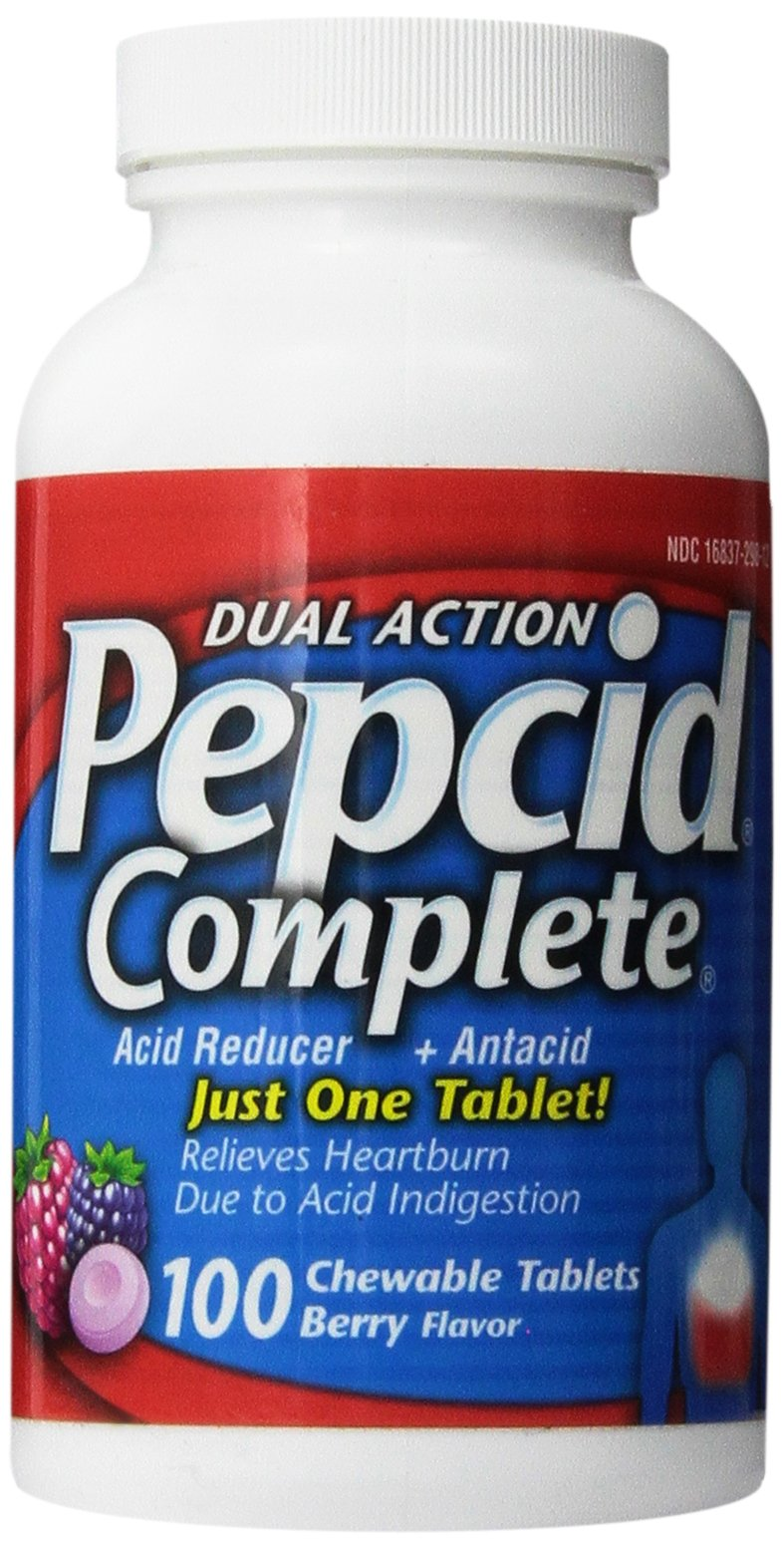 Pepcid Complete Dual Action Acid Reducer and Antacid Berry Flavored Chewable Tablets 100 Count Bottle by Pepcid