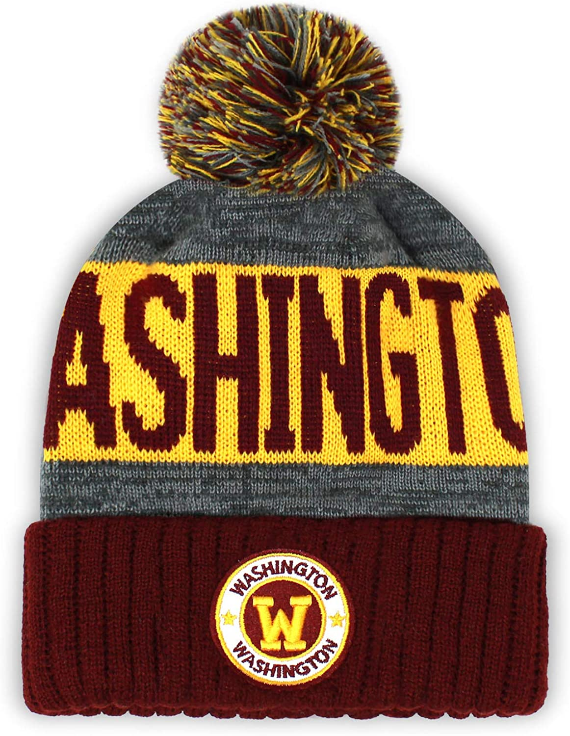 Football City Pom Beanie Premium Embroidered Patch Winter Soft Thick Beanie Skully Hat