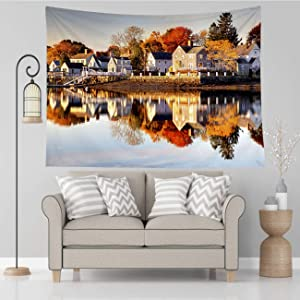 Vikes Nature Tapestry,Autumn in Portsmouth New Hampshire,Tapestry Wall Hanging Art for Living Room Bedroom Home Decor,60x50 in
