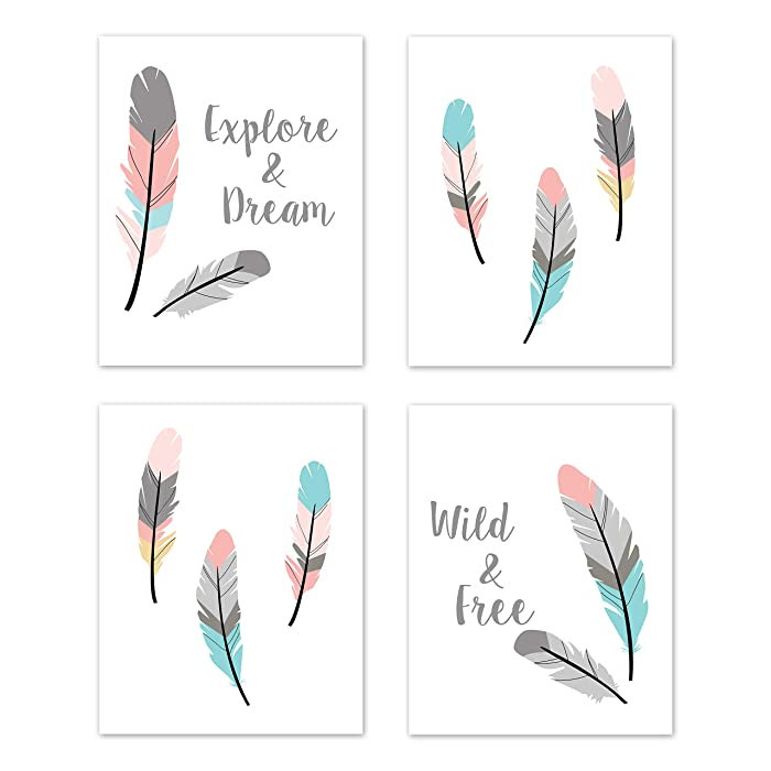 Sweet Jojo Designs Turquoise and Coral Boho Wall Art Prints Room Decor for Baby, Nursery, and Kids for Feather Collection - Set of 4 - Explore & Dream, Wild & Free