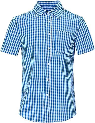 RAISEVERN Hombres Casual Camisa a Cuadros de algodón Mezcla Regular Fit -Largo/Manga Corta con Botones de Cuello Camisas de Tela Escocesa: Amazon.es: Ropa y accesorios