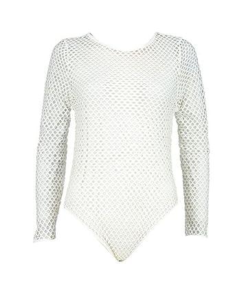 0967c1d912f Women Long Sleeve Full Fishnet Mesh Slim Fit Bodysuit  Amazon.co.uk   Clothing