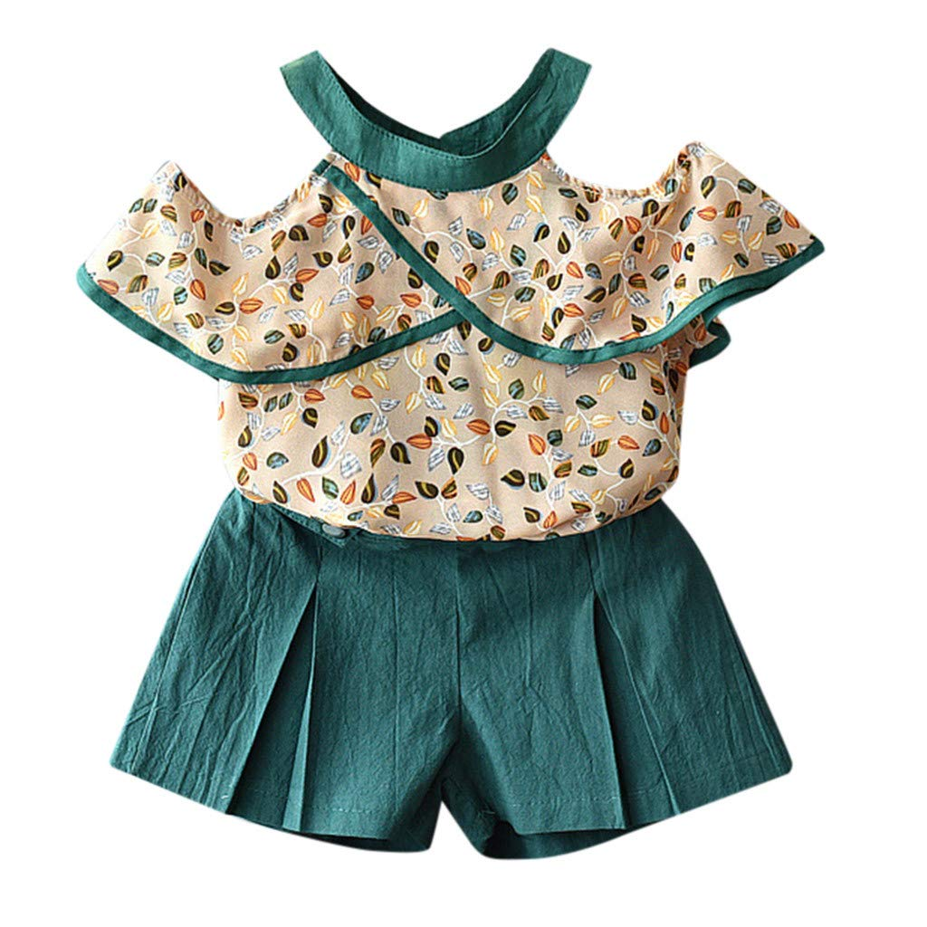 Womola Toddler Little Baby Boy Girl Tassel Sleeveless Tank Top Floral Bowknot Shorts Pant Set Outfit