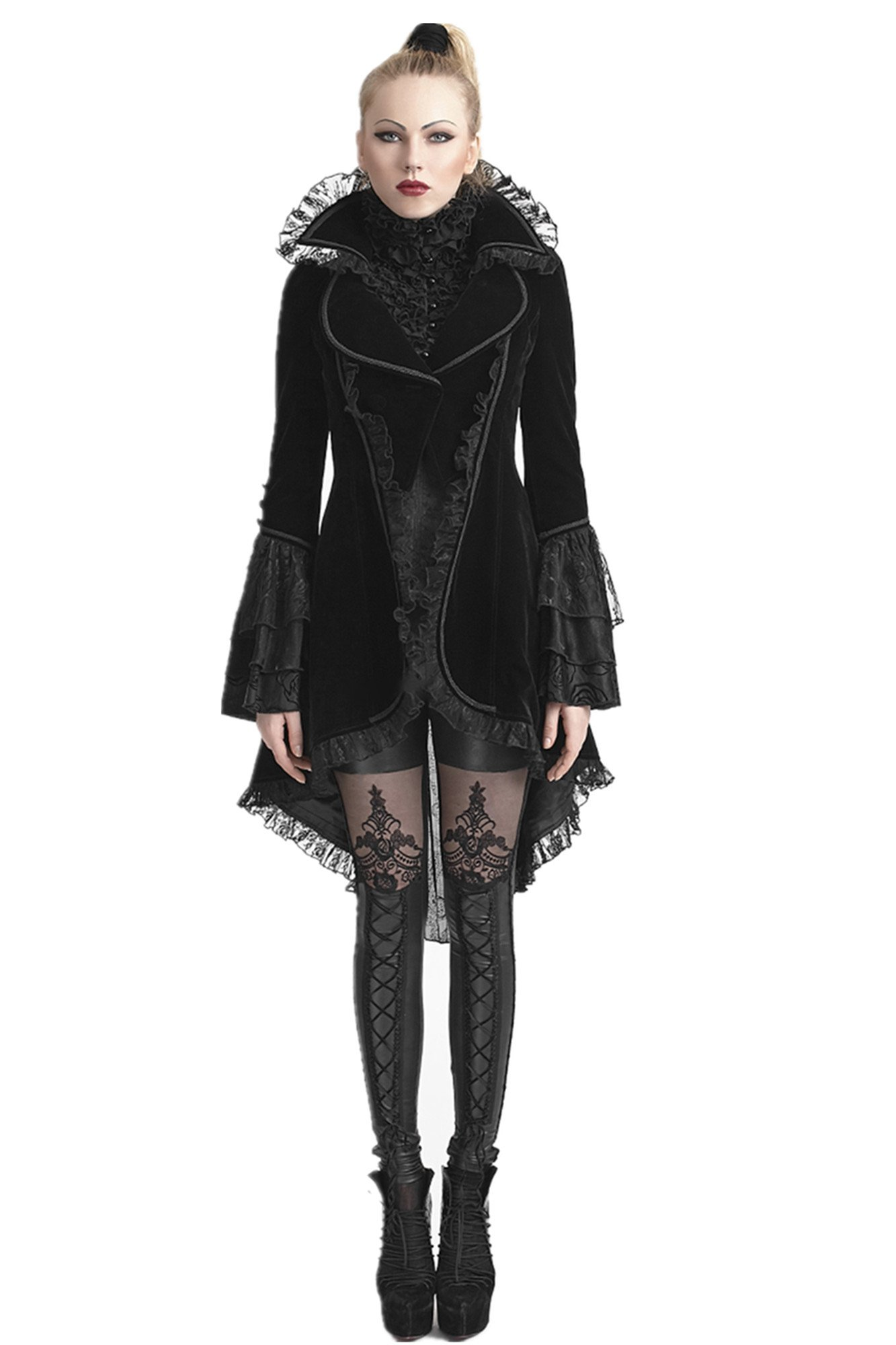 Punk Rave Women's Black Velvet Victorian Steampunk Tailcoat Ruffle Jacket with Back Lacing-S