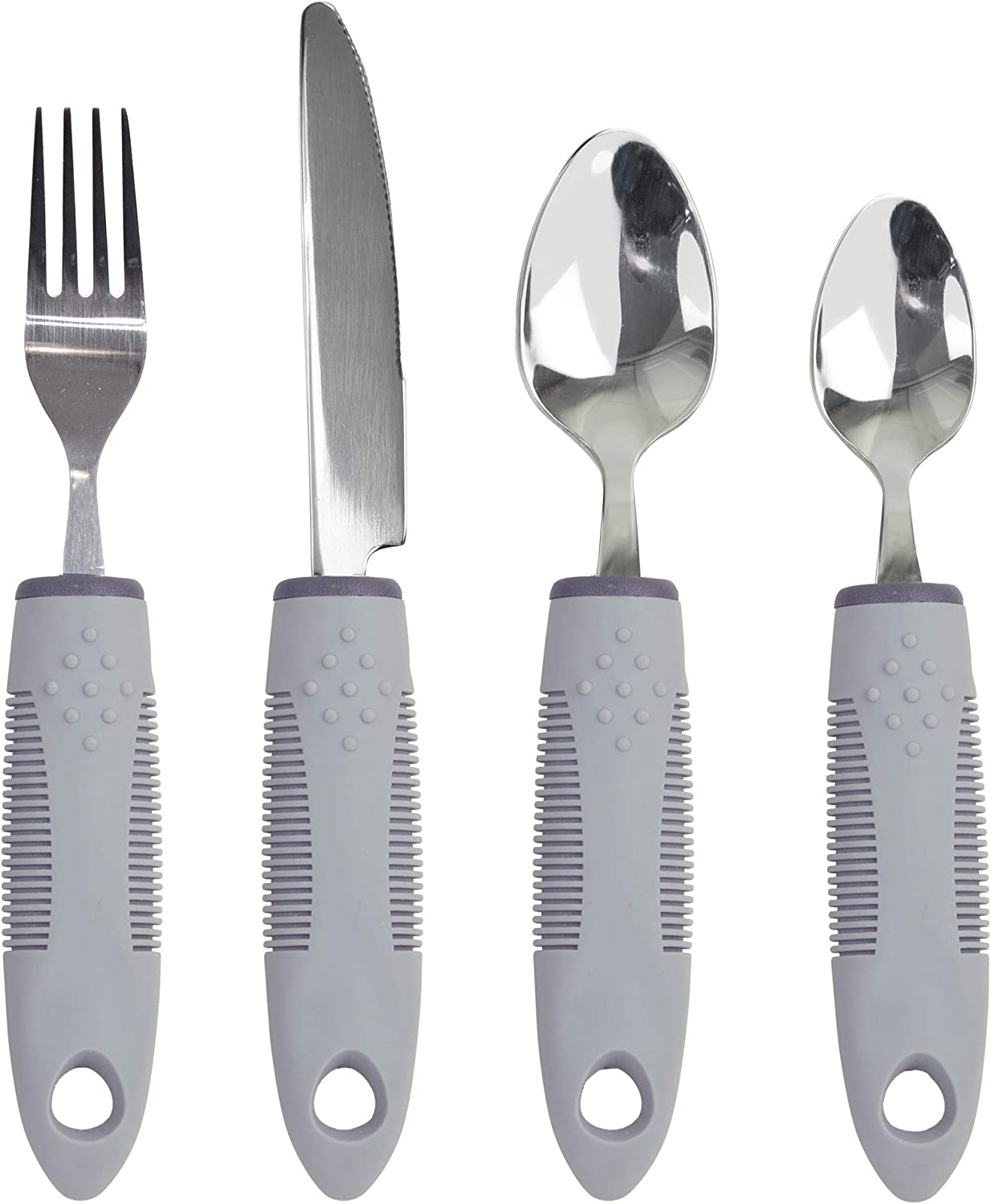 KMD Adaptive Utensils Set with Built-Up Non-Weighted Handles (4-Piece), Fork, Knife, and 2 Spoons for Arthritis, Parkinson's, Tremors, Elderly or Disabled (Black): Health & Personal Care