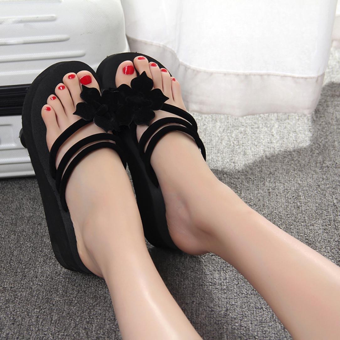 Qisc Womens Summer Beach Flower Non-Slip Flip Flops Wedge Sandals Shoes High Heels Slippers
