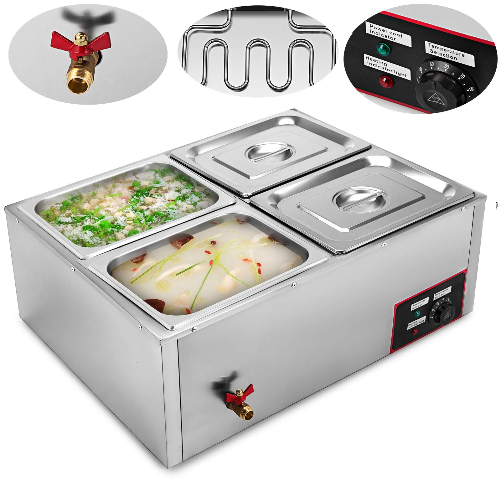 VEVOR Commercial Food Warmer 110V Electric Food Warmer 850W Stainless Steel Bain Marie Buffet Food Warmer Steam Table for Catering and Restaurants (4-Pan) by VEVOR