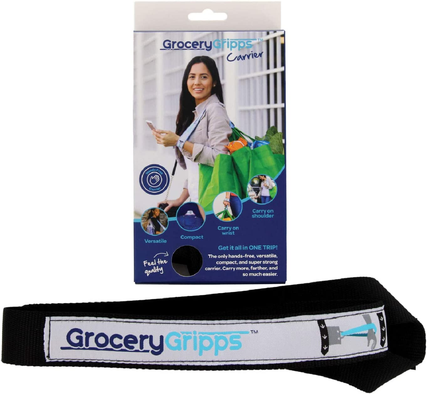 Grocery Gripps Carrier – The Ultimate Hands-Free Grocery Bag Carrier Strap, Carry Multiple Bags At Once – Compact, Easy to Use, Super Strong – Carry Shopping On Your Shoulder / Wrist – Black