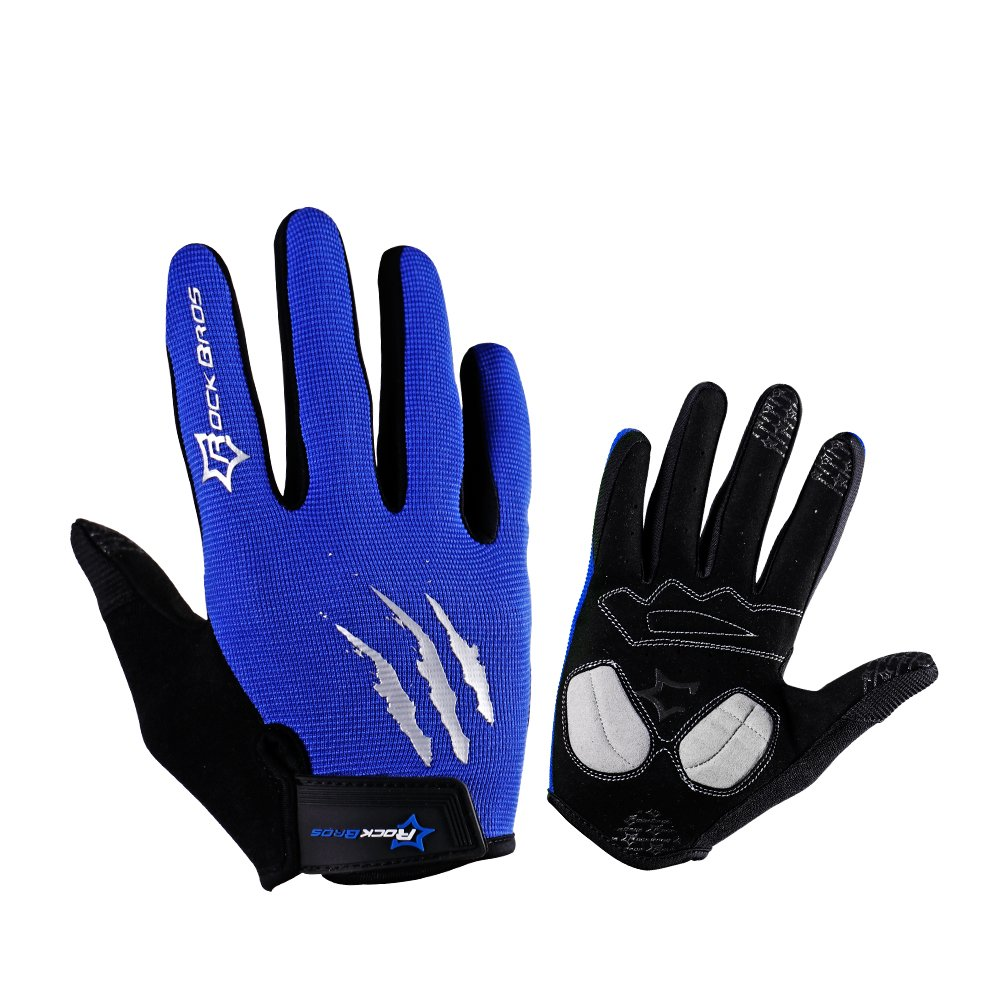 RockBros乗馬グローブMTB BMXバイクサイクリング滑り止めミトンフル指Gelパッドメンズ手袋 B073QLHTFV  ブルー M