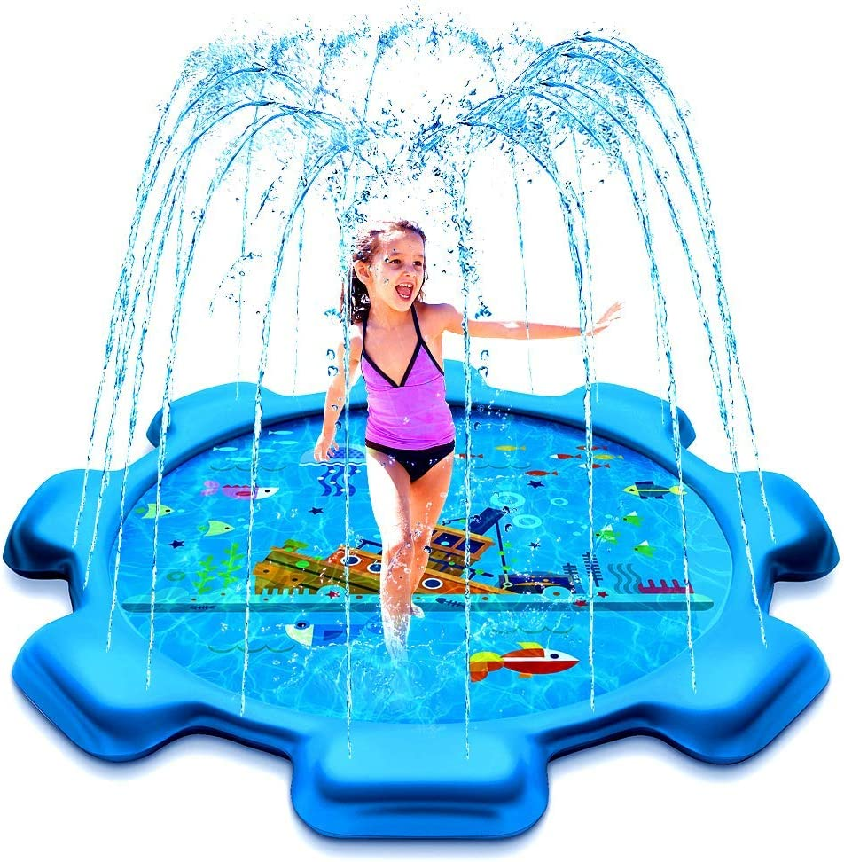HIGBRE Splash Pad, 75'' Outdoor Swimming Pool Splash Play Pad - Sprinkler Mat Summer Toys for Toddlers
