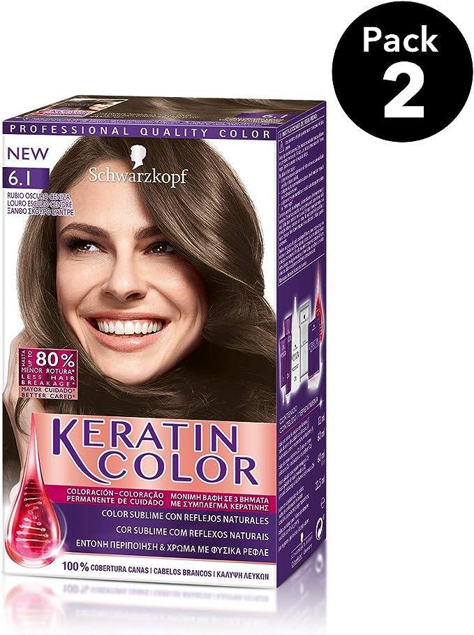 Keratin Color de Schwarzkopf - Tono 6.1 Rubio Oscuro Ceniza - 2 uds - Coloración permanente