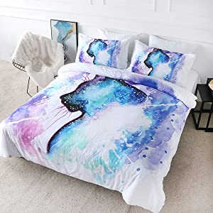 BlessLiving Galaxy Cat Bedding Sets for Kids Girls Boys 3 Piece Space Animal Stars Duvet Cover Cute Cat Hipster Bed Set Cat Lover Home Decor (Twin)