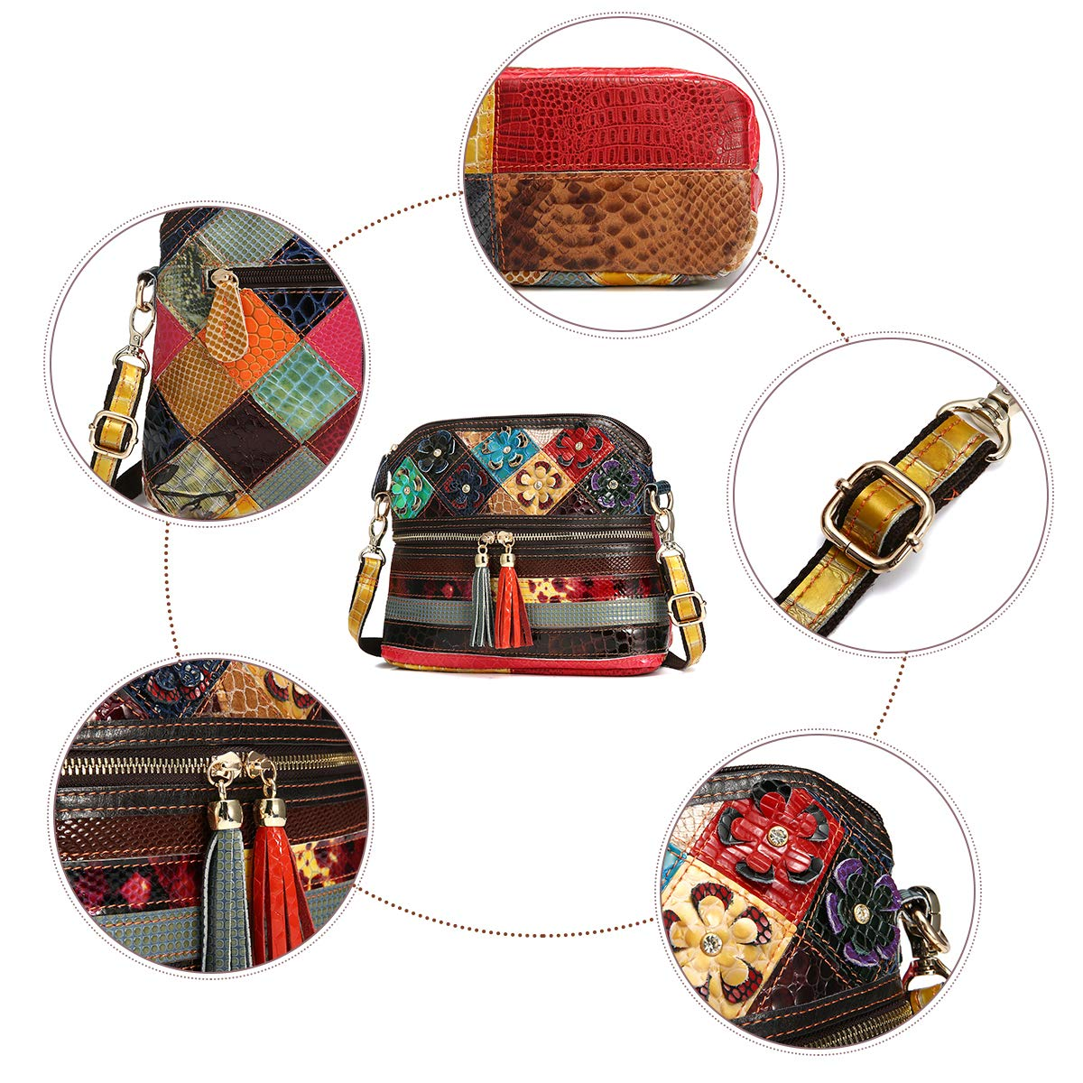 Bolso Crossbody de Moda OURBAG Bolso de Cuero de Mujer Vintage Bolso de Hombro Bolso de Playa para Mujer Vistoso