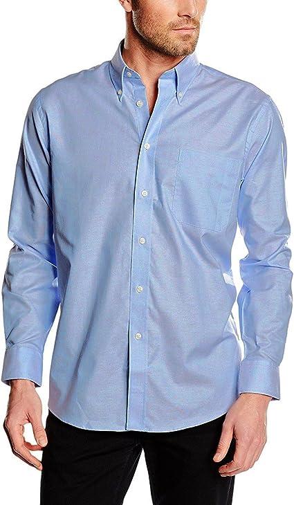 Camisa de algodón para hombre modelo ALEX cuello clásico varios colores - Azul claro, SM