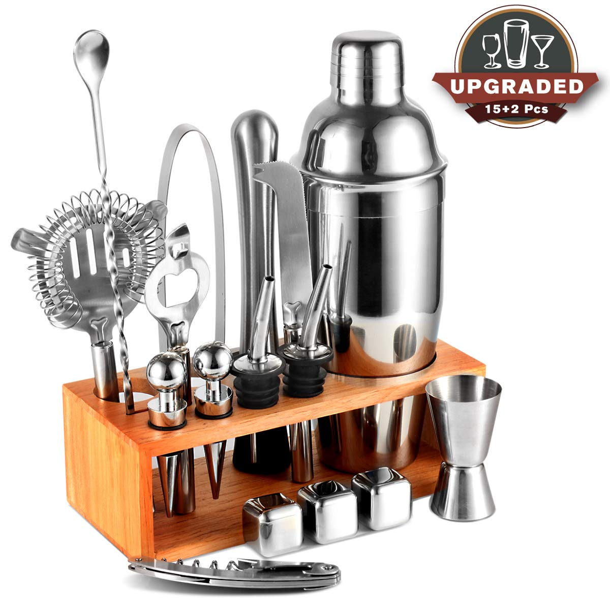 25oz Cocktail Shaker 17pc Bartender Kit with Stand,Professional Stainless Steel Bar Tool Set Bartending Kit Perfect for Drink Mixing Experience by Segauin