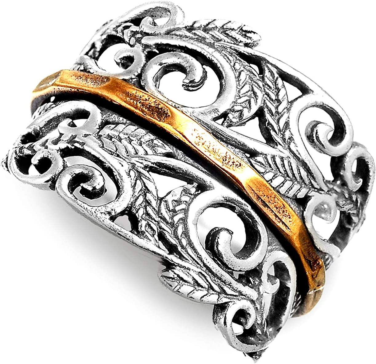 Boho-Magic 925 Sterling Silver Spinner Ring with Brass Spinning Ring for Women | Nature Leaves Fidget Meditation Anxiety Wide Band | Statement Chunky Jewelry Size 6-10