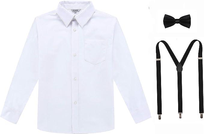 Bienzoe Niños Manga Larga Oxford Camisa Ligas Corbata de moño ...