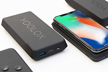 YOOLOX 16K – Cargador inalámbrico Qi Power Bank – 16000 mAh, Carga inalámbrica Compatible con iPhone XS MAX, XS, XR, X, 8, Plus y Galaxy S9, S8, S7, ...