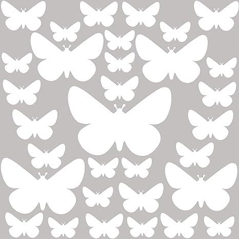 F/ácil de Poner Rosa Pastel Vinilos Decorativos Habitaci/ón Beb/é Ni/ña PREMYO 32 Mariposas Pegatinas Pared Infantil