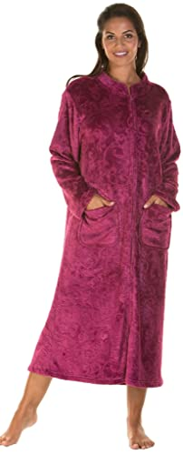 Ladies Luxury Soft Feel Embossed Zip Front Long Dressing Gown Robe Wrap Small to Plus Sizes UK 10-24
