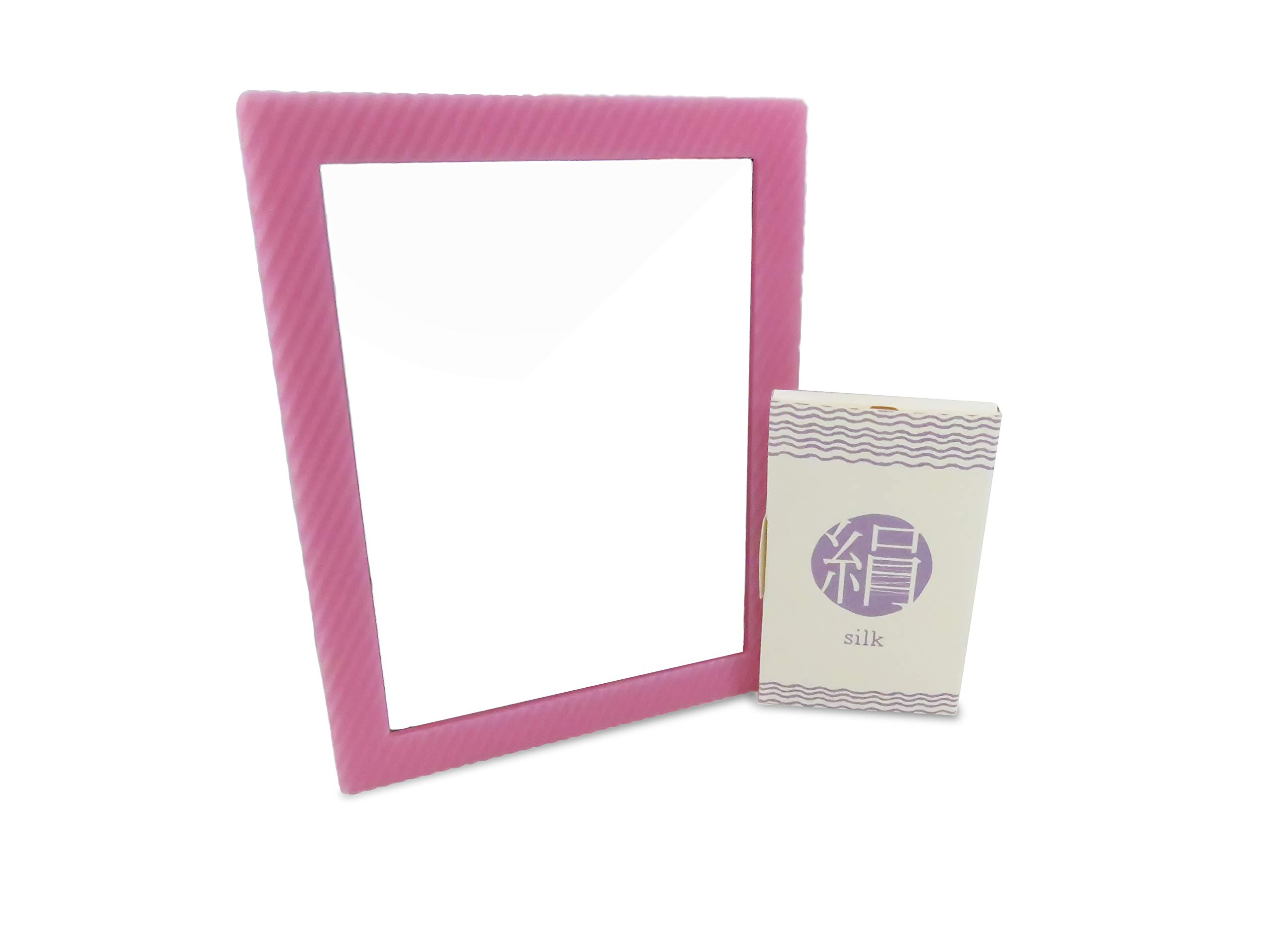 Locker Glass Mirror Rectangular Pink 6.25'' x 4.75'' Magnetic with Silk Blotting Absorbing Oil Paper 100 Sheets (2 Piece Set)