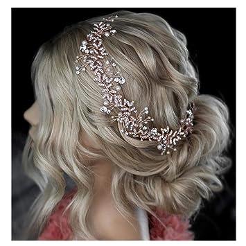 New Bride Head Band Leaf Crystal Simulated Pearls Flower Vine Wedding Headpiece