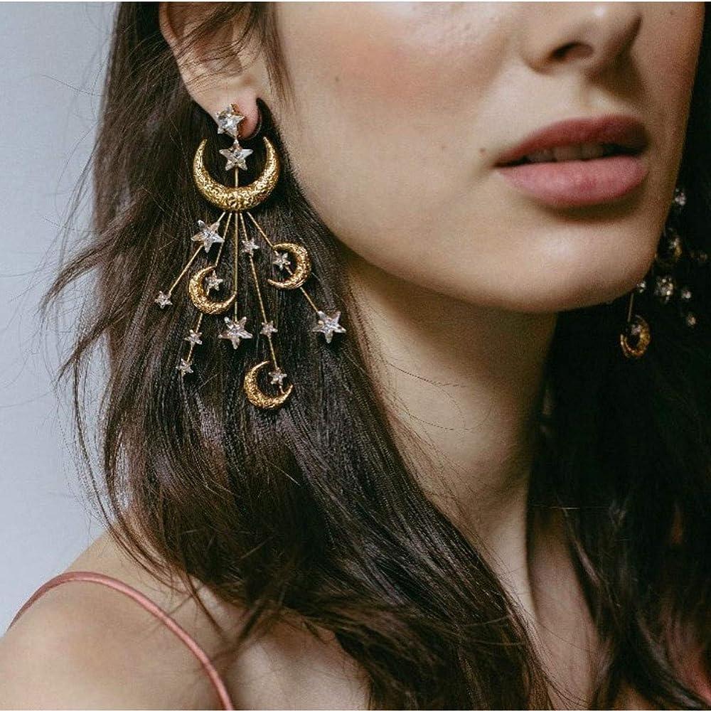 Earrings,Cluster Earrings,Transform Earrings,Ring Earrings,Aquamarine,Moonstone,Three In One,Symbols,Moon,Moon Earrings,Symbol Jewels