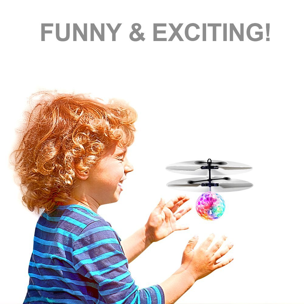 Betheaces Flying Ball, RC Flying Toy, Boys Toys, Infrared Induction Helicopter Drone with Colorful Shinning LED Light and Remote Controller for Kids, Gifts for Boys and Girls, Indoor and Outdoor Game by Betheaces (Image #2)